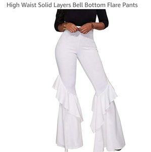 Pants - Women White Ruffles Slim Flare Pants